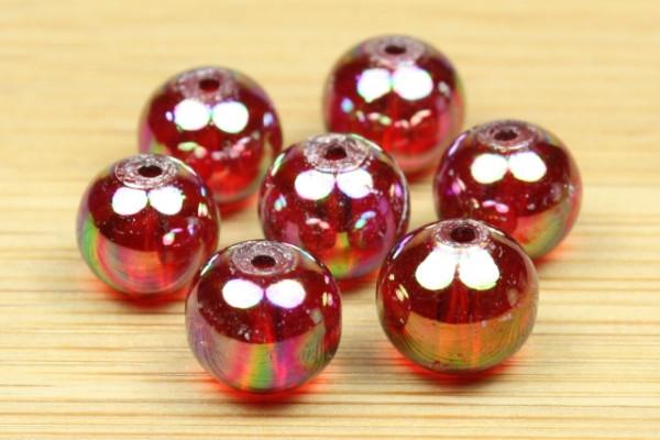 Glasperlen, rund, red-rainbow, 8mm