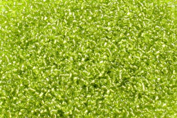 Rocailles, rund, lindgrün mit Silberfolieneinzug, 2mm