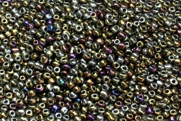 Rocailles, rund, schwarz bunt metallic, 15gr, 6/0, 4mm