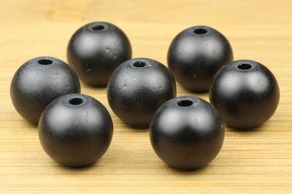Glasperlen, satiniert, matt schwarz, 10mm