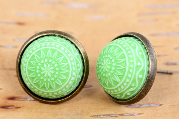Ohrstecker, Mosaikcabochon, grün/weiß, bronzefarben, 10mm