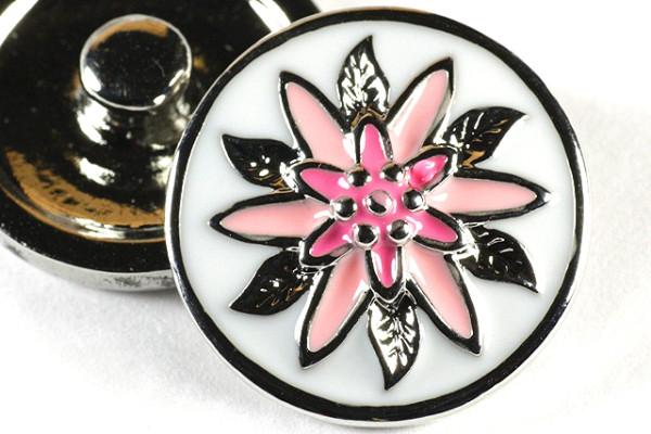 Druckknopf, Blume, rosa/silberfarben, 20mm