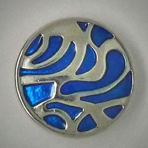 Druckknopf, Ornamente, blau/silber, ca. 20mm