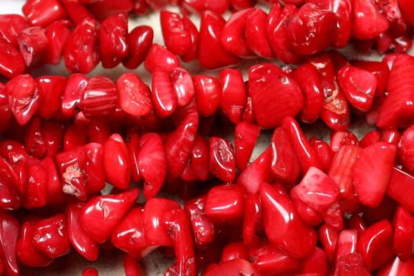 Koralle, Edelsteinsplitter, rot, 45 Stück