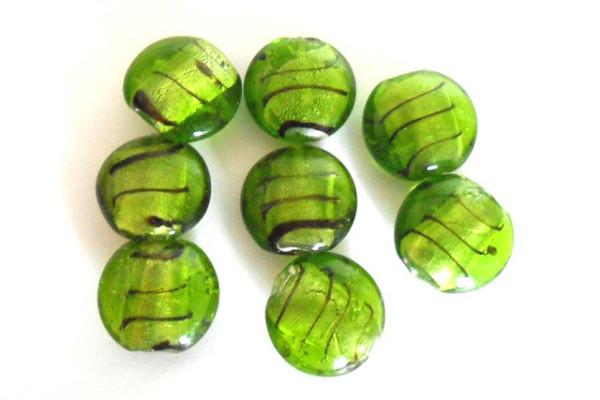 Glasperlen mit Silberfolie, Button, grün, ca. 20x10mm