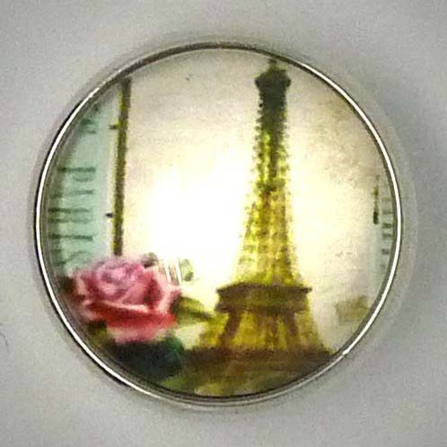 Druckknopf, Paris Motiv, bunt, ca. 20mm