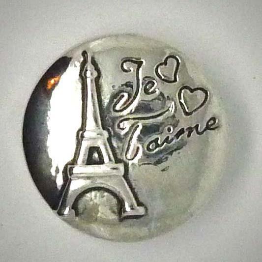 Druckknopf, Paris+Je t'aime, silberfarben, 20mm