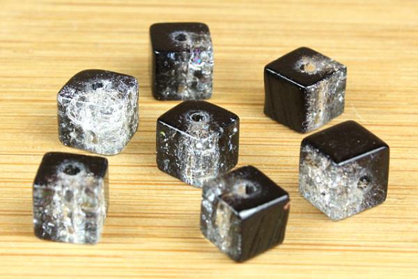 Crashperlen, Würfel, schwarz-weiß, 6x6mm