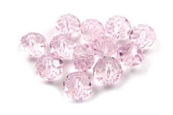 Kristallperlen, Rondelle, rosa, 6x8mm