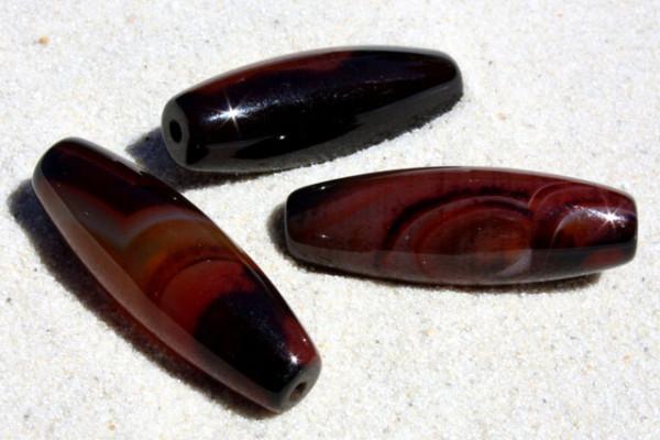 Traum-Achat, Olive, schwarz-bunt, 30x10mm
