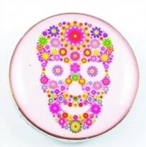 Druckknopf, Totenkopf, rosa Blumen, ca.20mm