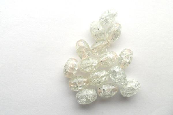 Glasperlen mit Crasheffekt, Oliven, weiß, 11x8mm