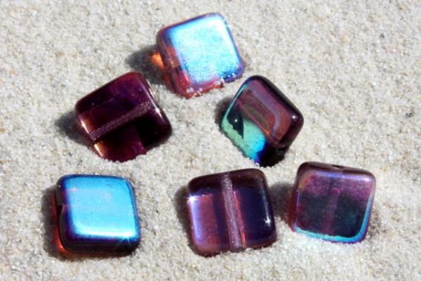 Quadrate, böhmische Glasperlen, lila AB, 8x8mm