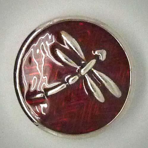 Click-Button, Libelle, rot/silberfarben, ca. 20mm