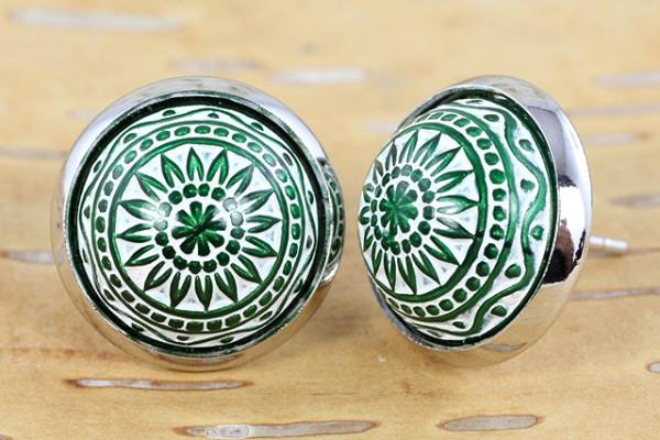 Ohrstecker, Mosaikperle, dunkelgrün und weiß, silberfarben, 12mm