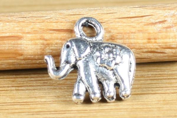 Bettelanhänger, Elefant, versilbert, 12mm