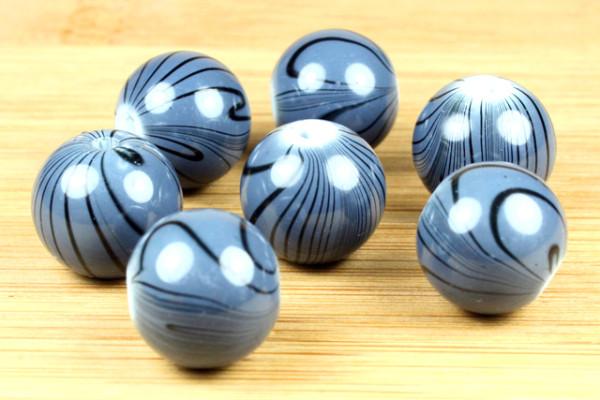 Lampenperle, rund, grau, marmoriert, 14mm