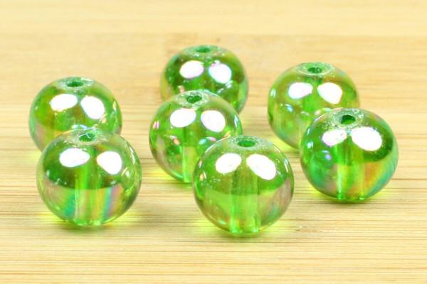 Glasperlen, rund, green-rainbow, 8mm