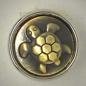 Mini Druckknopf, Schildkröte, messingfarben, ca. 13mm