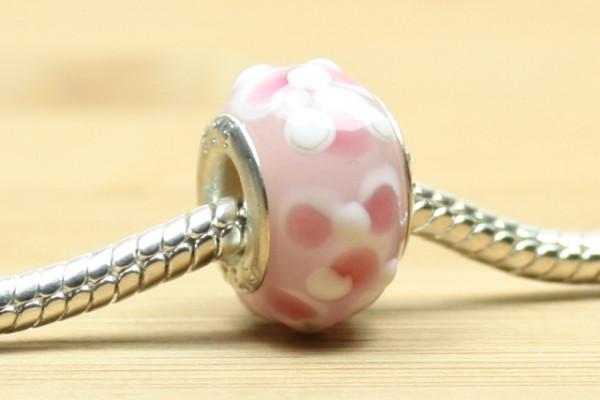 Modulperle, Silberkern, rosa mit weißen Noppen