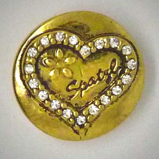 Druckknopf, Herz mit Strass und Spatzl, goldfarben/weiß, 20mm