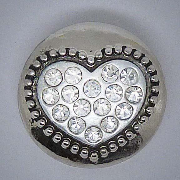 Druckknopf, Herz mit transparentem Strass, 20mm