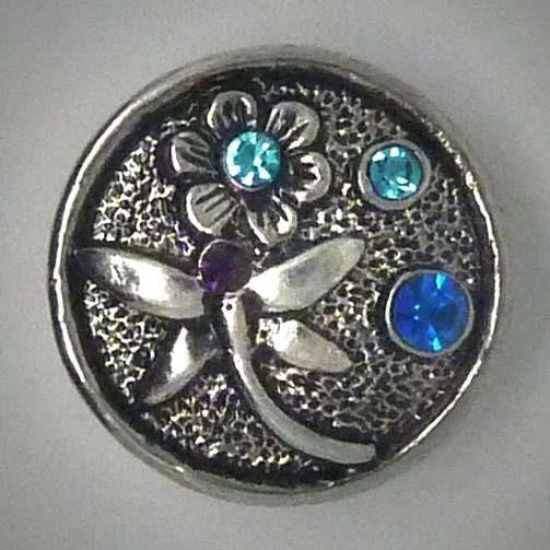 Druckknopf, Libelle mit Blume, ca. 20mm