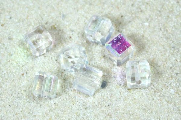 Glaswürfel mit Schliff, crystal AB, 4x4mm