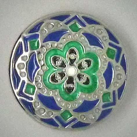 Druckknopf, Mandala, grün/blau/silberfarben, 20mm