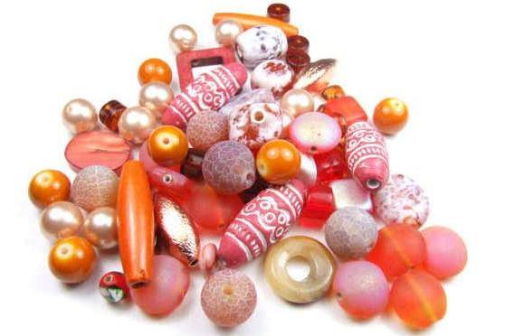 Konvolut, Perlenmix, Orange-Töne