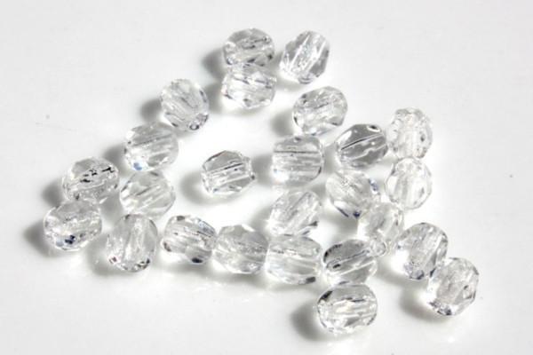 25 Glasschliffperlen, weiß transparent, 4mm