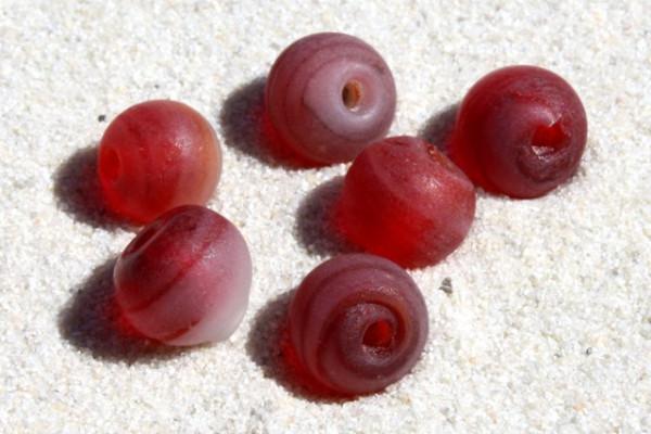 Glasperlen, frost rot-wirbel, 6mm