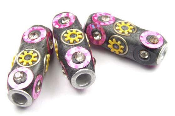 Kashmiri Perle, schwarz/pink, 28x12mm