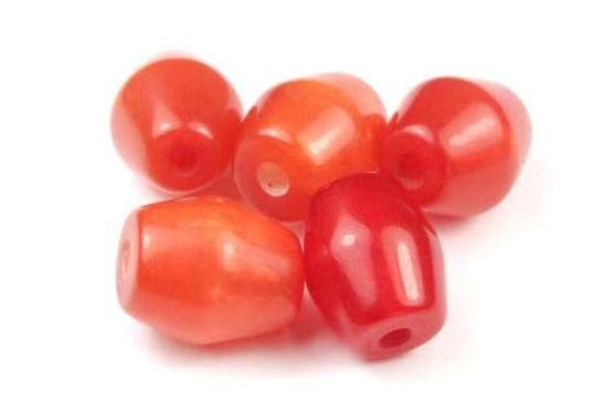 Perlen aus Kunstharz, Tönnchen, burnt orange, 12x10mm