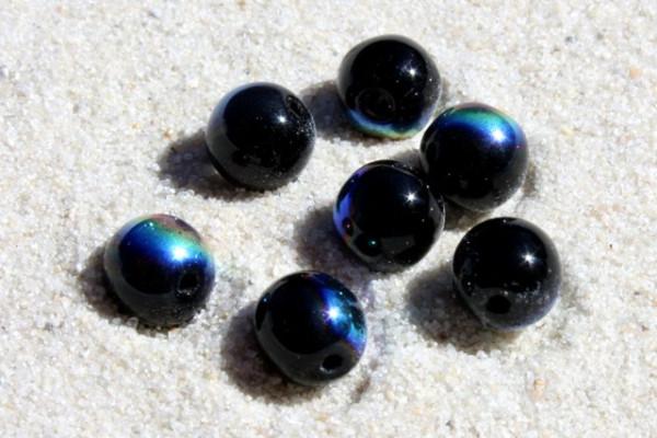 böhmische Glasperlen, rund, schwarz-rainbow, 6mm