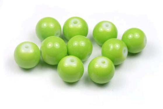Glasperlen, opak grasgrün, 10mm