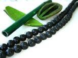 Lava Kugeln, Strang, rund, schwarz, geölt und poliert, 10mm
