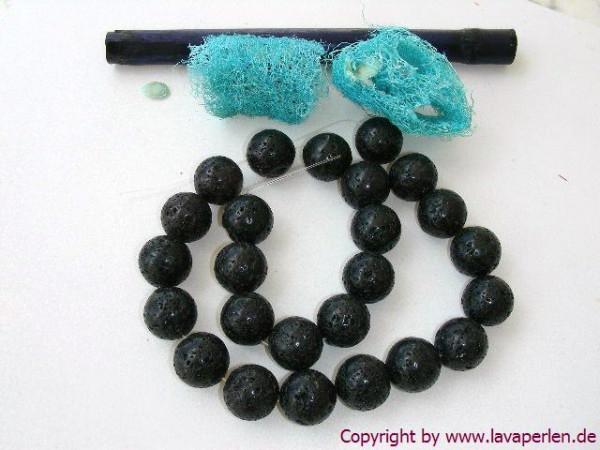 Lavaperlen, Strang, rund, schwarz, geölt u. poliert, 16mm