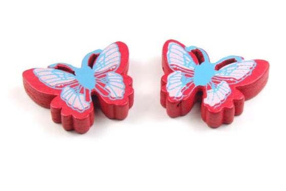 Perlen aus Holz, Schmetterlingsform, rot, bemalt, 25x20x5mm