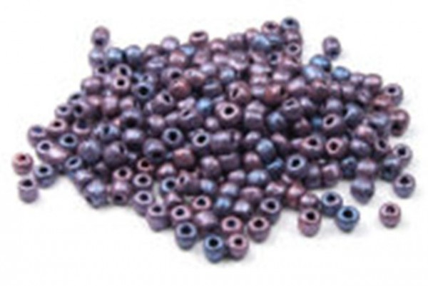 Rocailles/Indianerperlen, rund, seidenmatt lila meliert, 3mm
