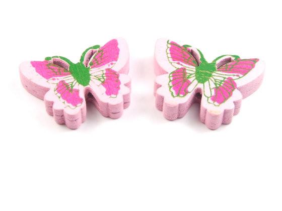 Holzperlen, Schmetterlinge, rosa, 25x20x5mm