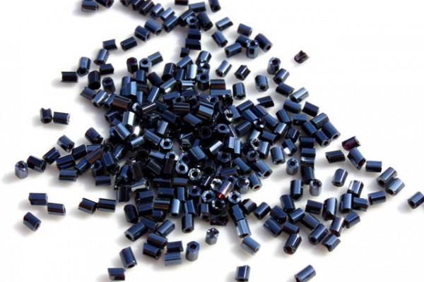 Rocailles, 2-cut, Glanz blau-schwarz, 2.5mm, 5 Gramm