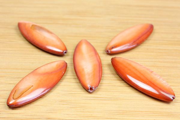 Muschelperlen, Oval, braun, 10x31 mm
