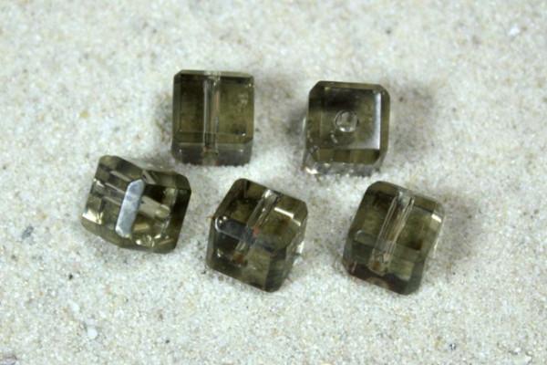 Kristall-Glaswürfel, grau, 6x6mm