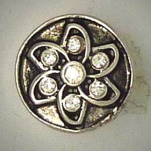 Mini Druckknopf, Blüte mit transparentem Strass, ca. 16mm