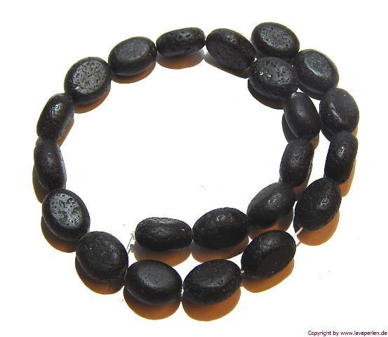 Lava Ovale, Strang, schwarz, unbehandelt, 20x15x10mm