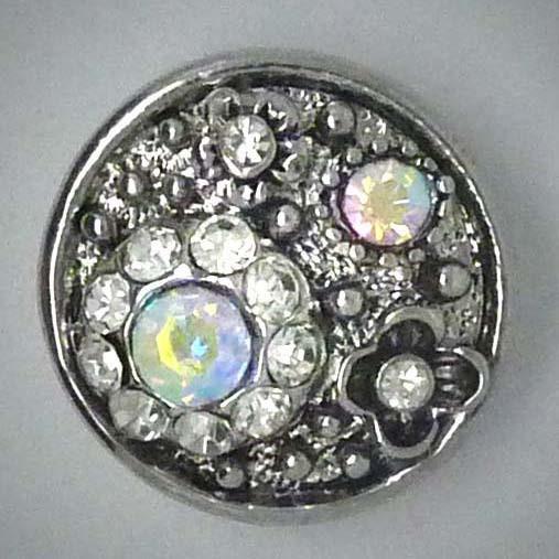 Druckknopf, Blume, transparent AB Strass, 20mm