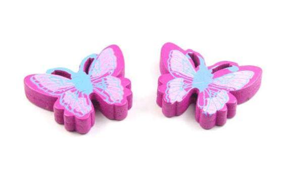 Perlen aus Holz, Schmetterlinge, lila, 25x20x5mm