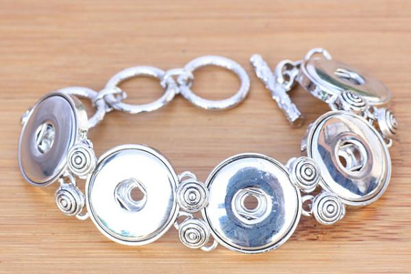 Druckknopfarmband aus Metall für 5 Druckknöpfe