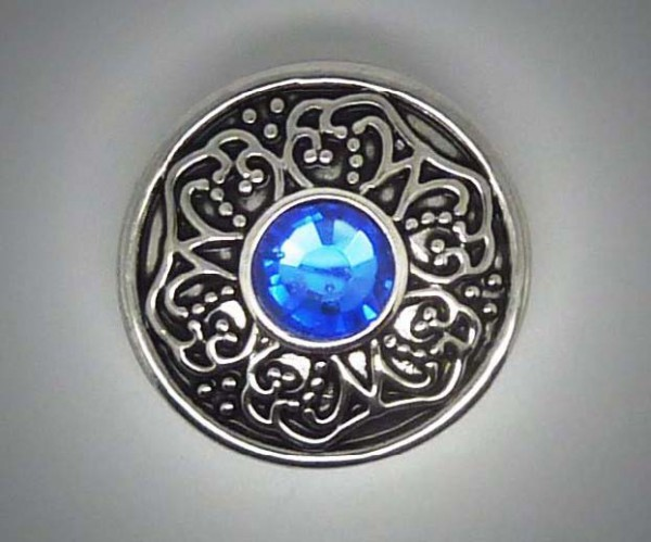 Click-Button, blauer Strass mittig, 20mm